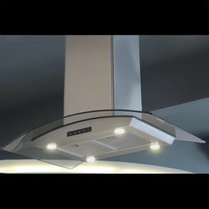 30-inch Stainless Steel Island Hood with Arched Glass (Model ISL75A-LED)