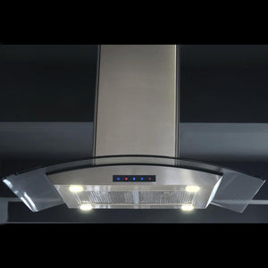 36-inch Stainless Steel Island Hood with Arched Glass (Model ISL90A-LED)