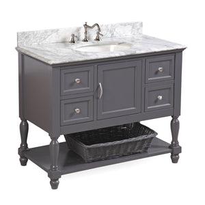 "Beverly 42"" Charcoal Gray Bathroom Vanity with Carrara Marble Top"