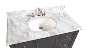 Beverly 42-inch Vanity (Carrara/Charcoal Gray)