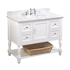 "Beverly 42"" White Bathroom Vanity with Carrara Marble Top"