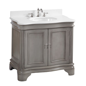 "Katherine 36"" Bathroom Vanity in Quartz & Weathered Gray"