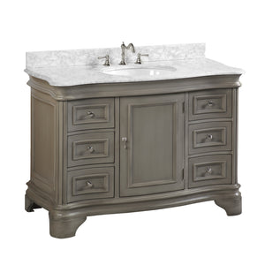 "Katherine 48"" Weathered Gray Bathroom Vanity Curved Front Marble Top"