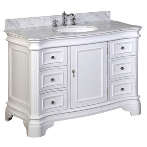 "Katherine 48"" White Bathroom Vanity Curved Front Carrara Marble Top"