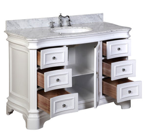 Katherine 48-inch Vanity with Carrara Marble Top