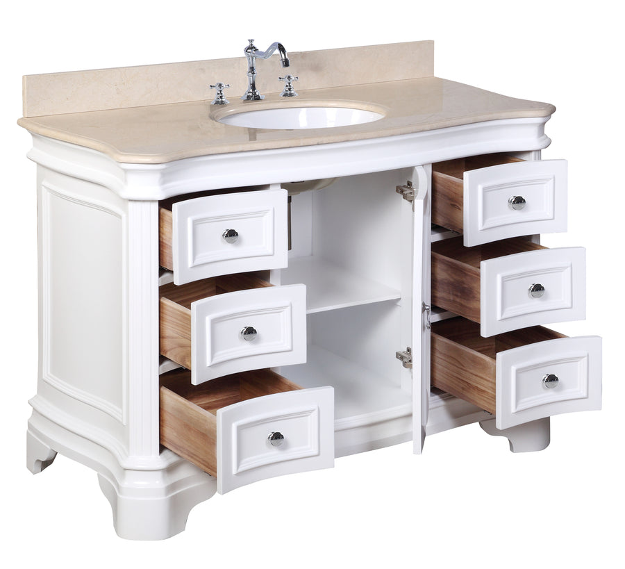 "Katherine 48"" White Bathroom Vanity Curved Front Crema Marfil Top"