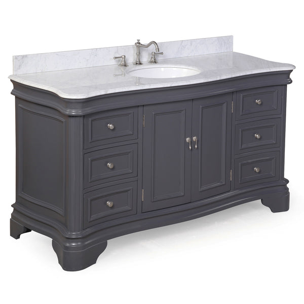 Katherine 60-inch Single (Carrara/Charcoal Gray)