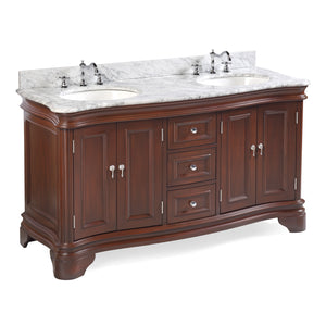 "Katherine 60"" Chocolate Brown Double Bathroom Vanity with Carrara Marble Top"
