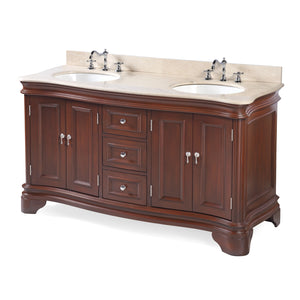 Katherine 60-inch Double Vanity with Crema Marfil Top