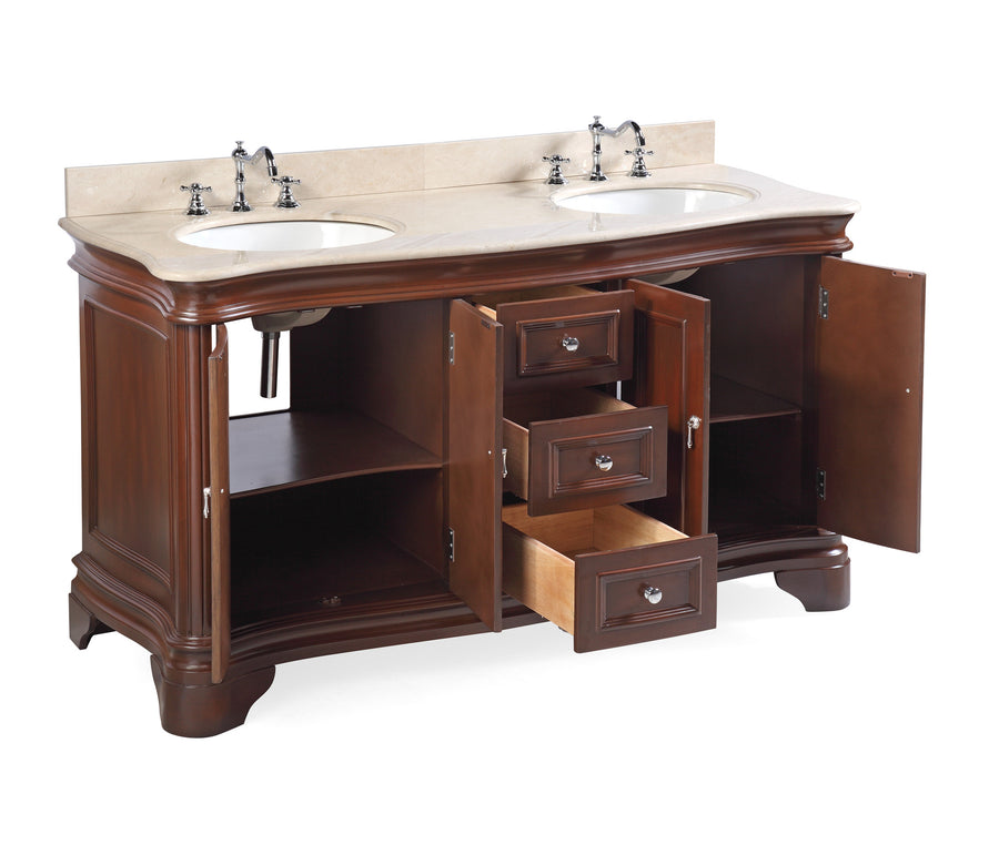 "Katherine 60"" Chocolate Brown Double Bathroom Vanity with Crema Marfil Top"