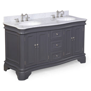 "Katherine 60"" Charcoal Gray Double Bathroom Vanity with Carrara Marble Top"