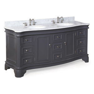 "Katherine 72"" Charcoal Gray Bathroom Vanity with Carrara Marble Top"