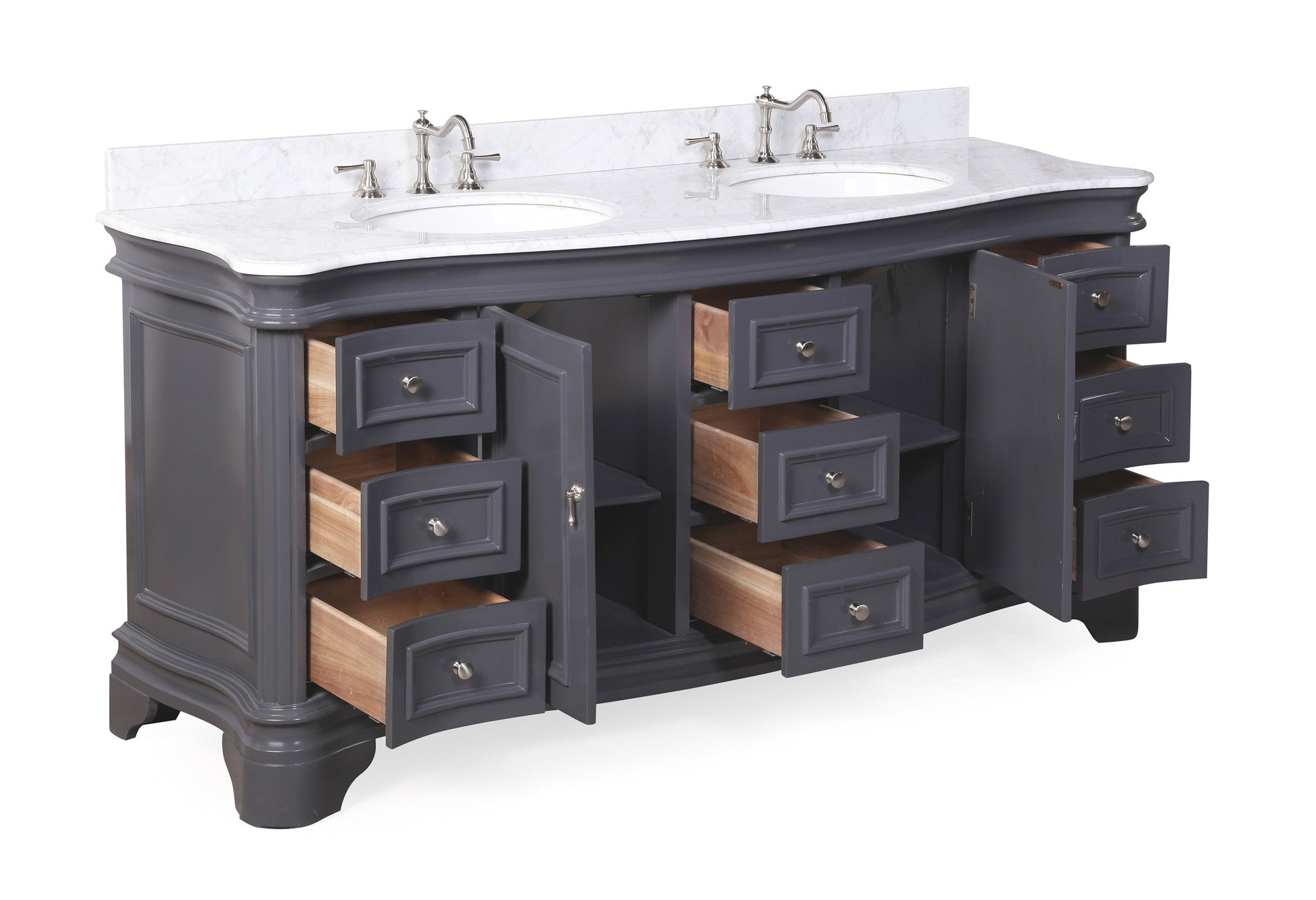 Katherine 72-inch Double (Carrara/Charcoal Gray)