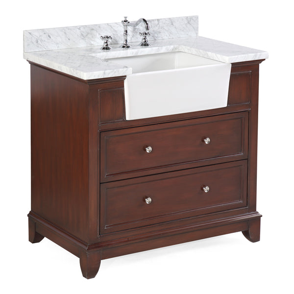 Sophie 36-inch Farmhouse Vanity (Carrara/Chocolate)