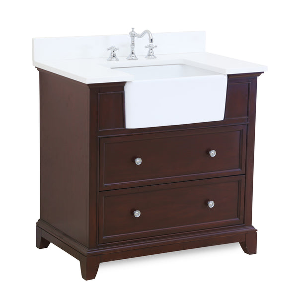 Sophie 36-inch Farmhouse Vanity (Quartz/Chocolate)