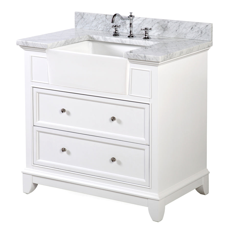 "Sophie 36"" White Farmhouse Vanity with Carrara Marble Top"