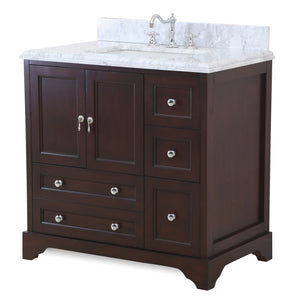 Madison 36-inch Vanity (Carrara/Chocolate)