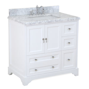 "Madison 36"" Bathroom Vanity in Carrara & White"