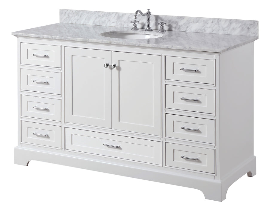 Harper 60-inch Single (Carrara/White)