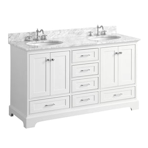 "Harper 60"" Double Bathroom Vanity in Carrara Marble & White"
