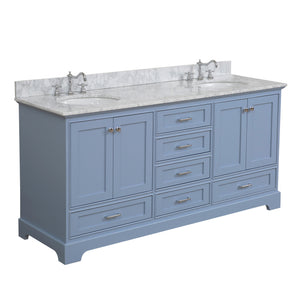 "Harper 72"" Double Bathroom Vanity Carrara Marble & Powder Blue"