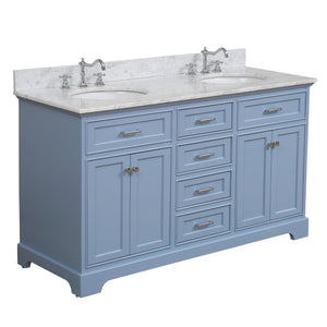 "Aria 60"" Double Bathroom Vanity in Carrara Marble & Powder Blue"