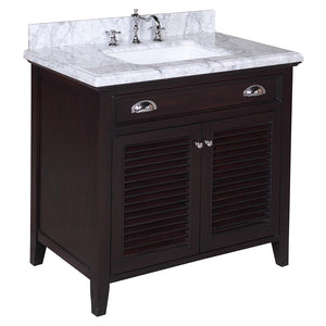 "Savannah 36"" Bathroom Vanity in Carrara & Chocolate"