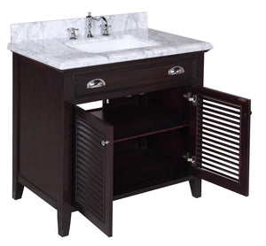 Savannah 36-inch Vanity with Carrara Marble Top