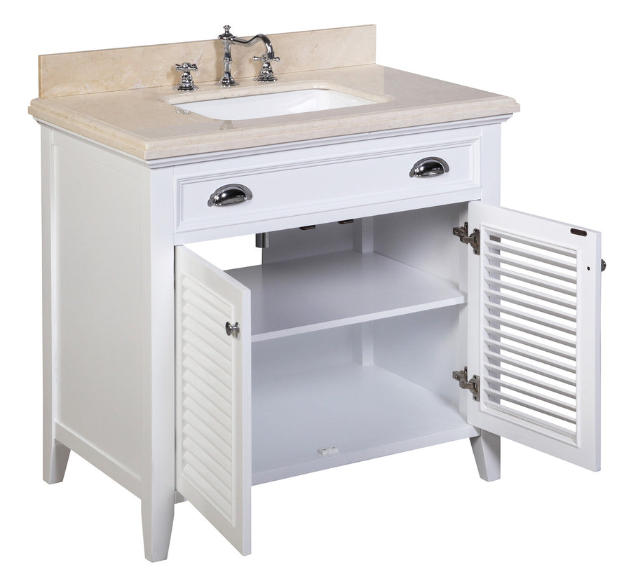 "Savannah 36"" Bathroom Vanity in Crema Marfil & White"
