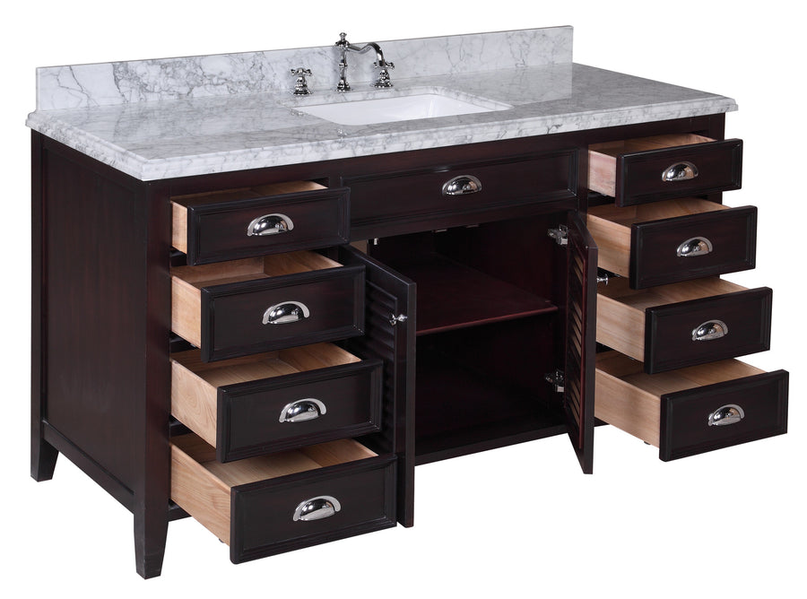Savannah 60-inch Single Vanity with Carrara Marble Top