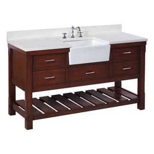 "Charlotte 60"" Chocolate Brown Farmhouse Bathroom Vanity with Quartz Top"