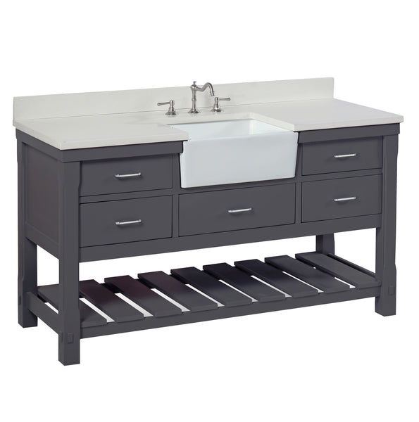 Charlotte 60-inch Single Farmhouse Vanity (Quartz/Charcoal Gray)