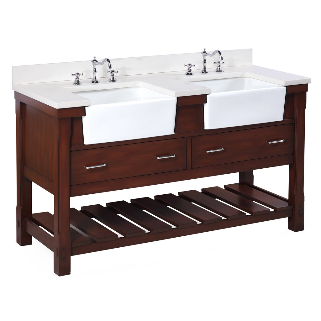 Charlotte 60-inch Double Farmhouse Vanity (Quartz/Chocolate)