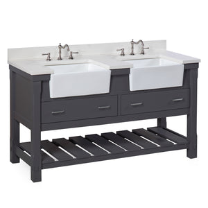 "Charlotte 60"" Charcoal Gray Farmhouse Bathroom Vanity with Quartz Top"