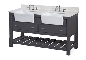 Charlotte 60-inch Double Farmhouse Vanity (Quartz/Charcoal Gray)