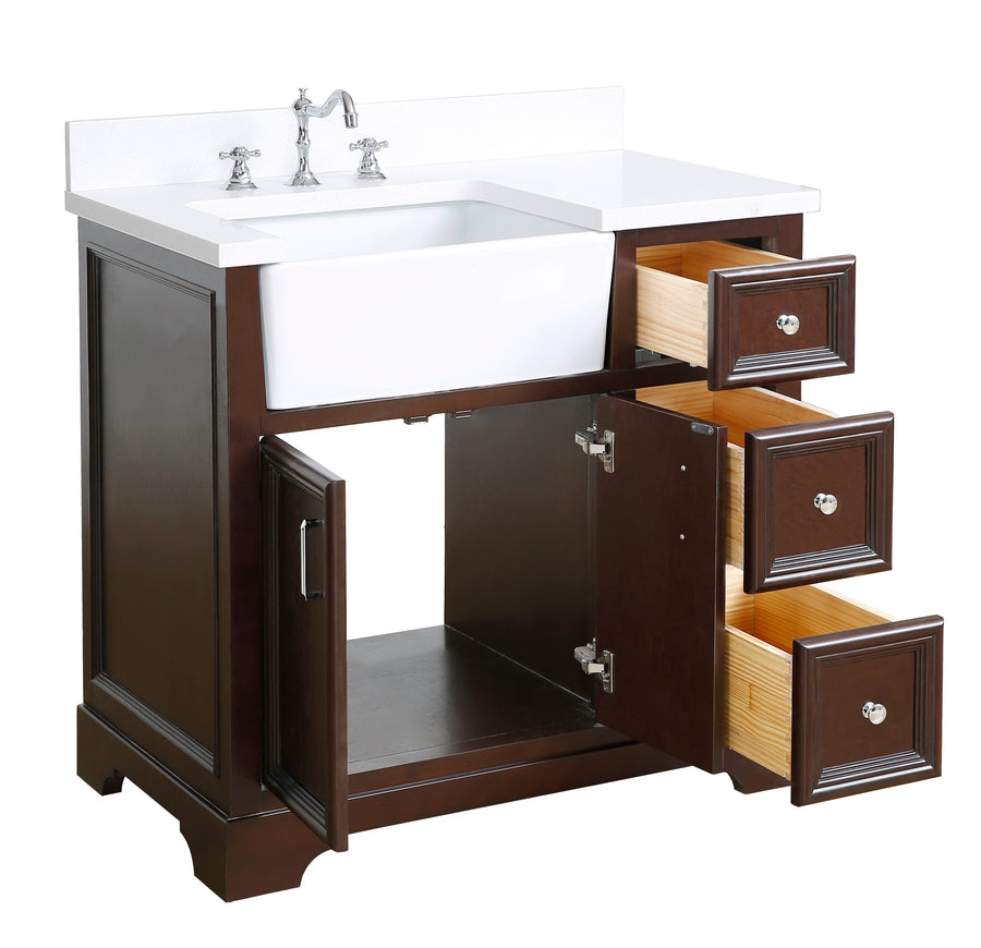 Zelda 36-inch Farmhouse Vanity (Quartz/Chocolate)