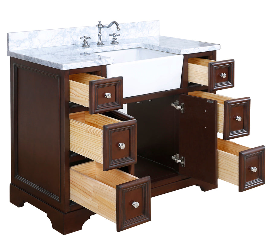 Zelda 42-inch Farmhouse Vanity (Carrara/Chocolate)