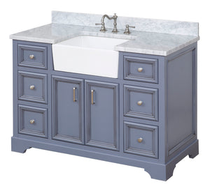 Zelda 48-inch Farmhouse Vanity (Carrara/Powder Gray)