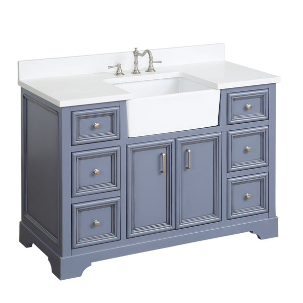 Zelda 48-inch Farmhouse Vanity (Quartz/Powder Gray)