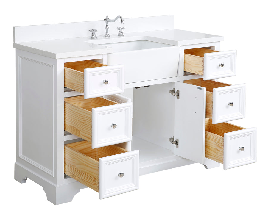 Zelda 48-inch Farmhouse Vanity (Quartz/White)
