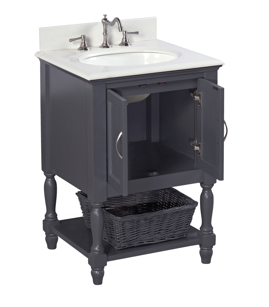 "Beverly 24"" Charcoal Gray Bathroom Vanity with Quartz Top"