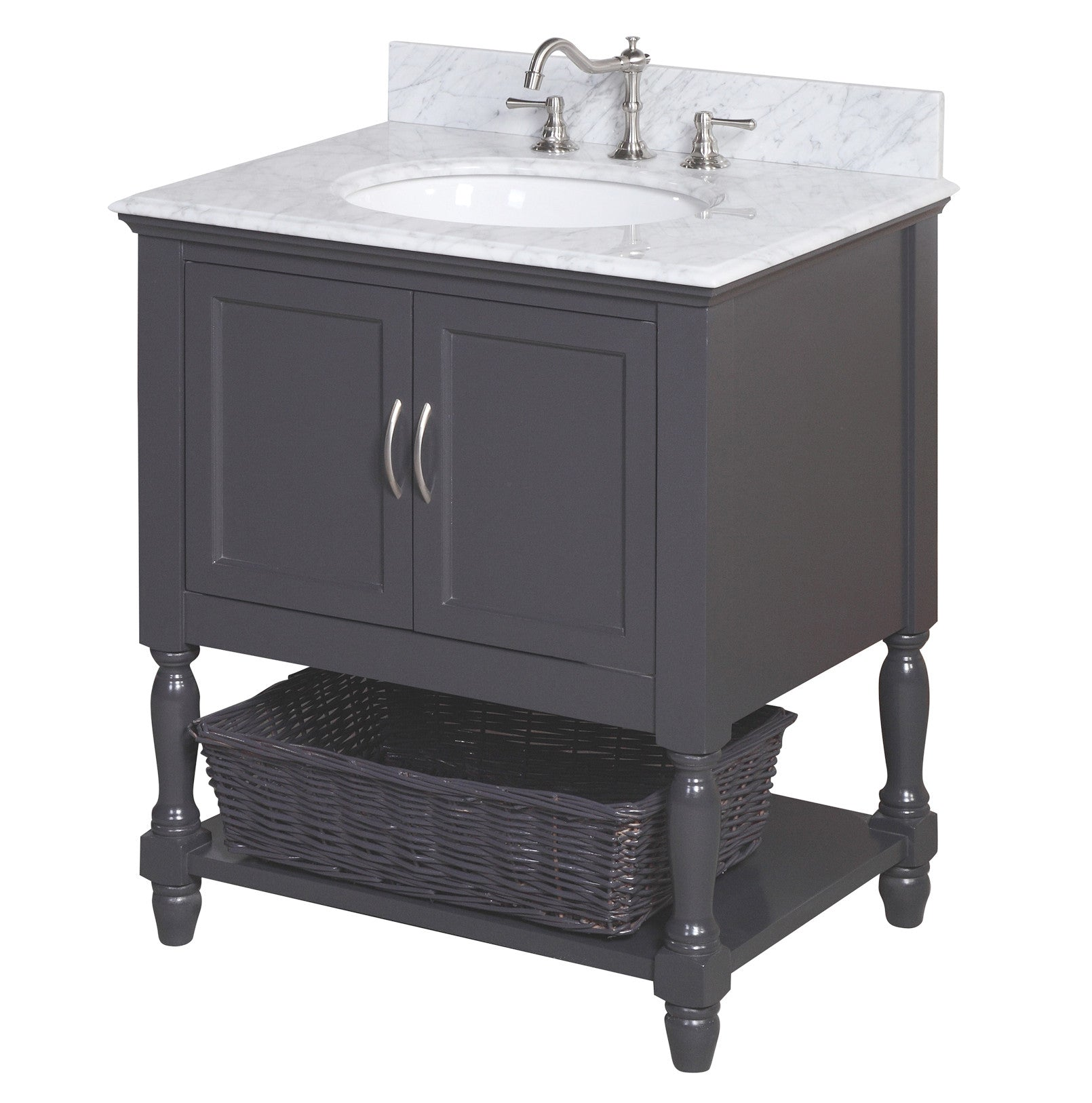 Beverly 30-inch Vanity (Carrara/Charcoal Gray)