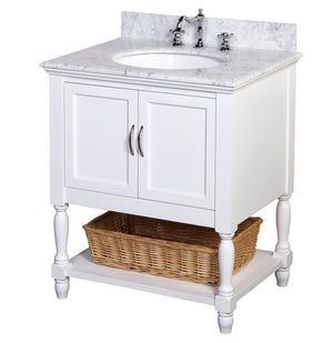 Beverly 30-inch Vanity (Carrara/White)