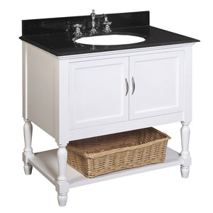 "Beverly 36"" White Bathroom Vanity with Black Granite Top"
