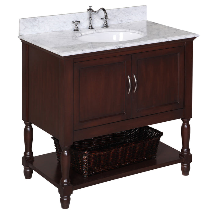 Beverly 36-inch Vanity (Carrara/Chocolate)