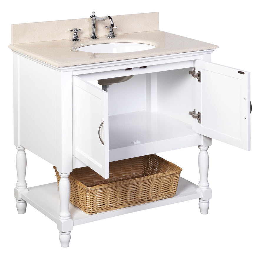 "Beverly 36"" White Bathroom Vanity with Crema Marfil Top"