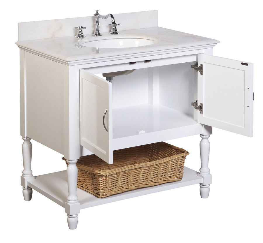 "Beverly 36"" White Bathroom Vanity with White Top"