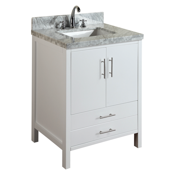 California 30 Quot Bathroom Vanity In Carrara Marble Amp White