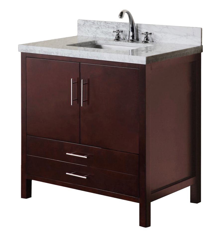 "California 36"" Chocolate Brown Bathroom Vanity with Carrara Marble Top"