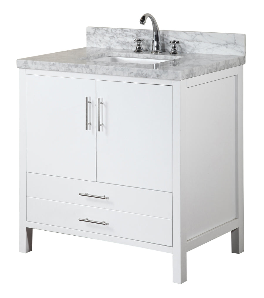 "California 36"" White Bathroom Vanity with Carrara Marble Top"